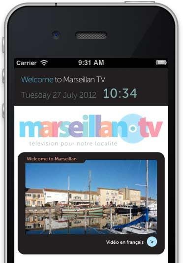 Marseillan TV website optimised for mobile.