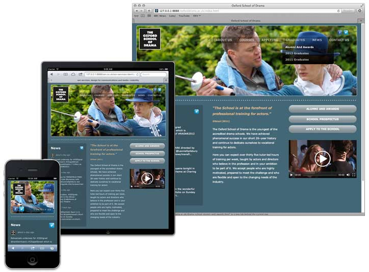 Oxford School of Drama website—ready for mobile, tablet and desktop.