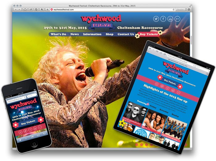 Wychwood Festival website—user experiences for mobile, tablet, desktop.