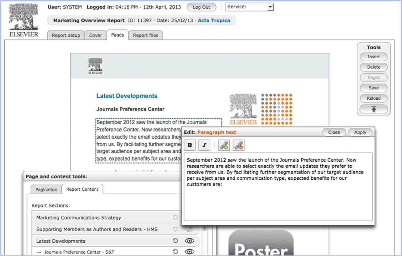 Elsevier eReporter application interface.